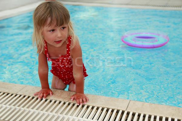 мало Cute девушки воды бассейна солнце Сток-фото © koca777