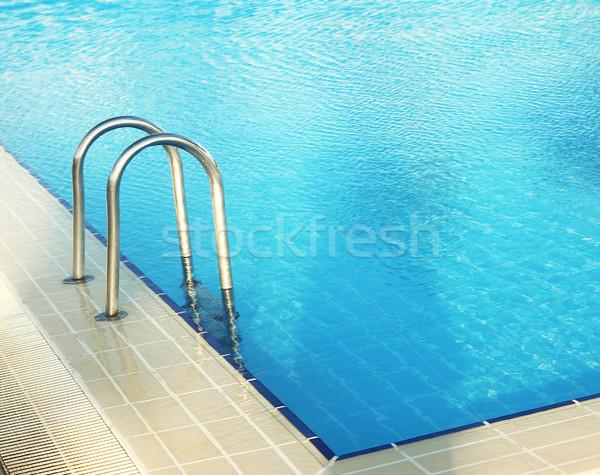 Stappen Blauw water zwembad gezondheid sport Stockfoto © koca777