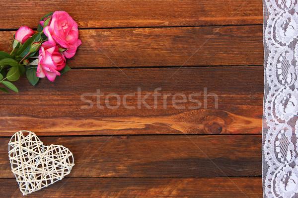 Kalp güller tatil sevgililer günü romantik bahar Stok fotoğraf © koca777