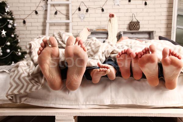 ног счастливая семья Cute женщину дома девушки Сток-фото © koca777