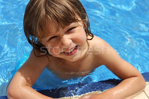Stockfoto: Meisje · water · meisje · man · zon · kind