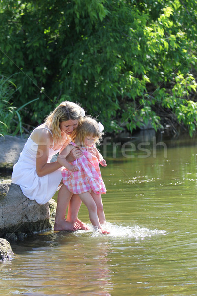 girl and her little daughter squirting water at the lake Stock photo © koca777
