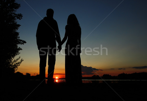 silhouette of a couple in love  Stock photo © koca777