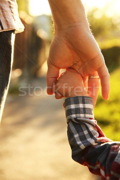 Padres mano pequeño nino seguridad verde Foto stock © koca777