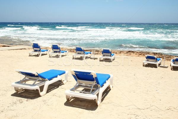 Güverte sandalye plaj deniz gökyüzü güneş Stok fotoğraf © koca777