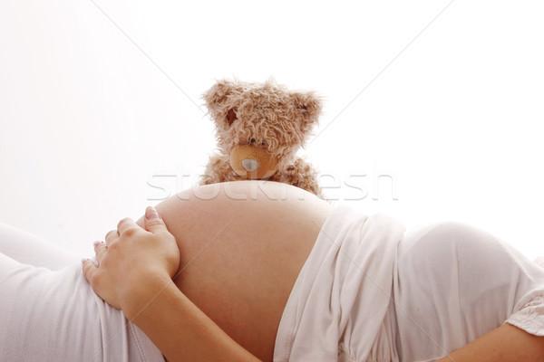 Estômago mulher grávida branco mulher mão cara Foto stock © koca777
