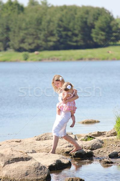 Anne küçük kız göl genç kadın Stok fotoğraf © koca777