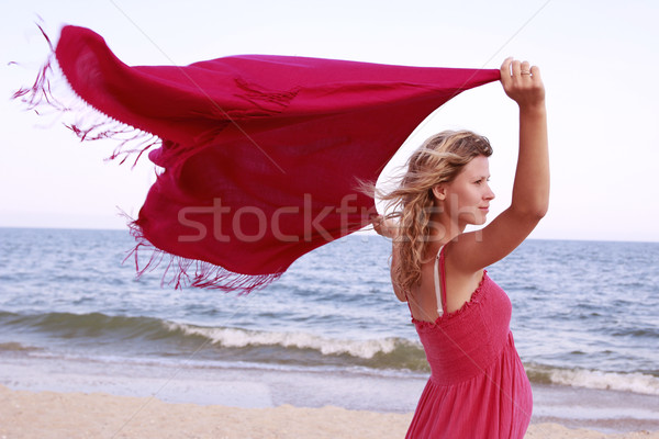 pregnant woman on the beach with a handkerchief Stock photo © koca777