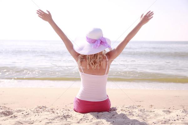 девушки Hat пляж воды женщины морем Сток-фото © koca777