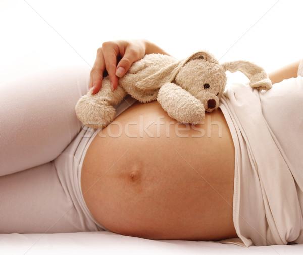 Gyomor terhes nő fehér nő kéz szeretet Stock fotó © koca777