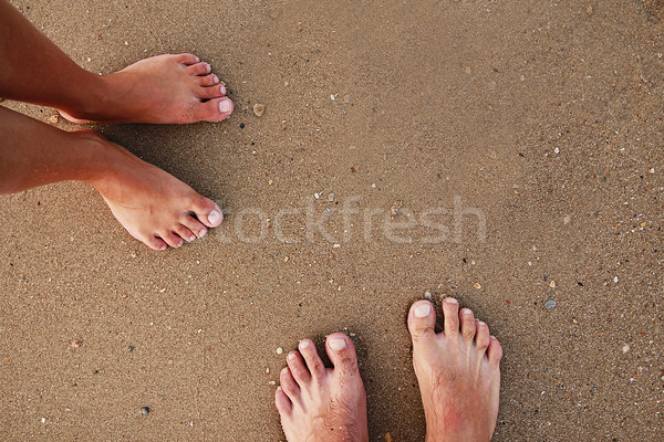 footprints in love couple in the sand on the seashore Stock photo © koca777