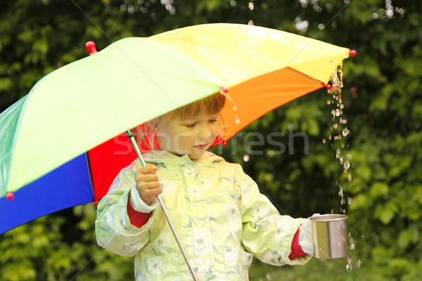 Kislány esernyő eső víz lány tavasz Stock fotó © koca777