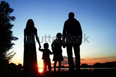 silhouette of a happy family Stock photo © koca777