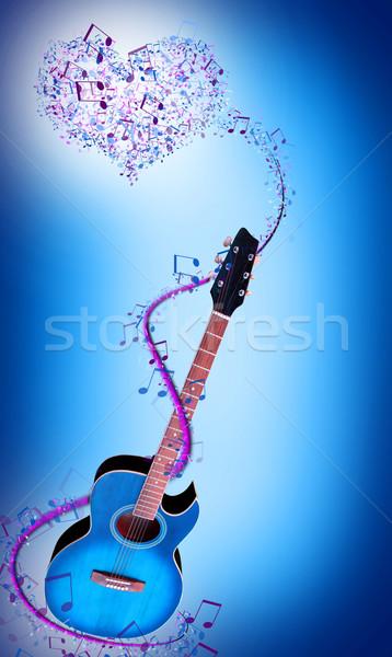 Mavi gitar notlar müzik ışık arka plan Stok fotoğraf © koca777