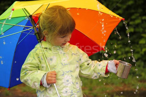 Photo stock: Fille · parapluie · pluie · petite · fille · eau · printemps