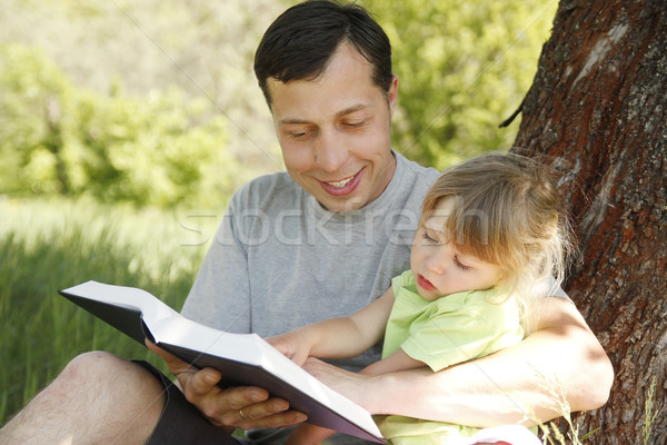отец мало дочь Библии молодые дерево Сток-фото © koca777