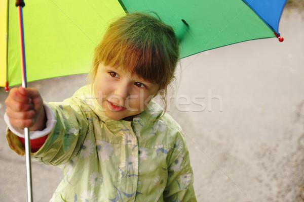 Küçük kız şemsiye yağmur su kız bahar Stok fotoğraf © koca777