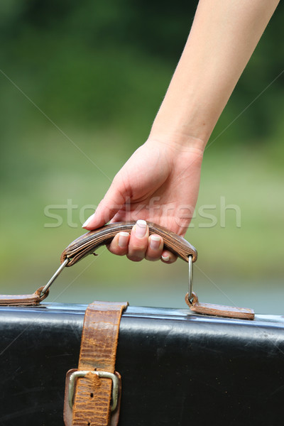 woman's hand holding a suitcase in the nature Stock photo © koca777