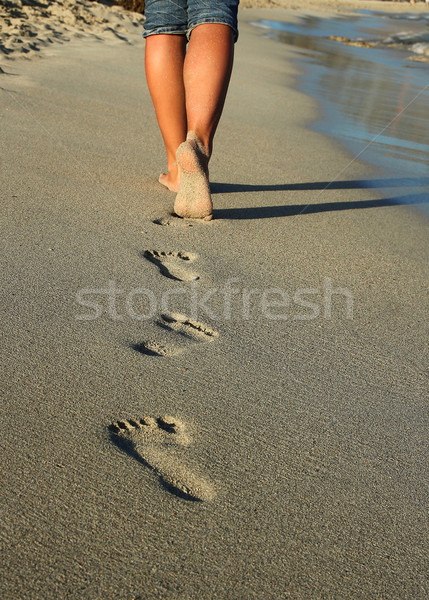 Stock photo: footprints in the sand