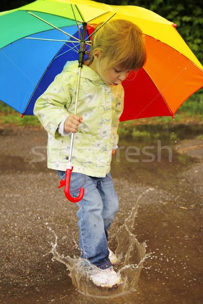 Lány esernyő eső kislány víz tavasz Stock fotó © koca777