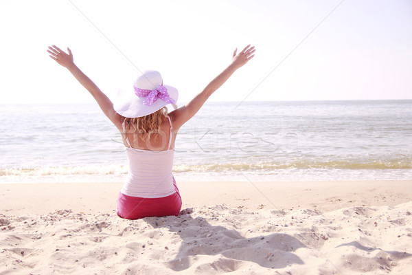 Fille chapeau plage eau femmes mer Photo stock © koca777
