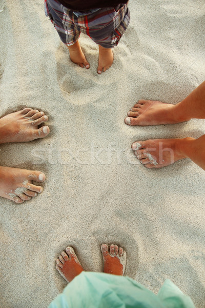 Rodziny stóp piasku plaży kobieta baby Zdjęcia stock © koca777