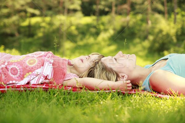 мама мало дочь лежать трава женщину Сток-фото © koca777