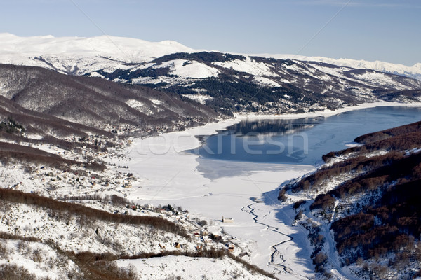 Göl Makedonya kış manzara görmek Kayak Stok fotoğraf © kokimk
