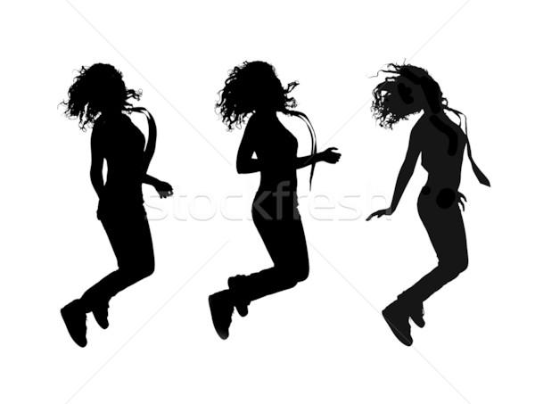 Kız atlama siluetleri kadın mutlu atlamak Stok fotoğraf © kokimk