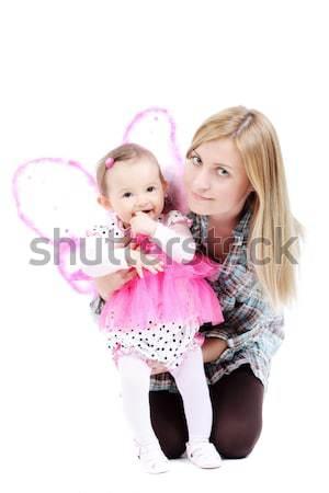 Anne kız pembe kelebek yüz Stok fotoğraf © kokimk