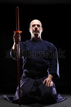 Savaşçı portre siyah adam uygunluk siluet Stok fotoğraf © kokimk