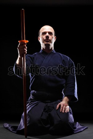 Lutteur portrait noir homme fitness silhouette Photo stock © kokimk