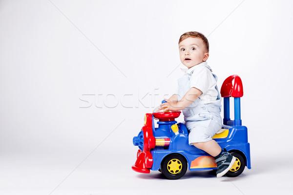 Bebek erkek oyuncak kamyon oynama doğum günü Stok fotoğraf © kokimk