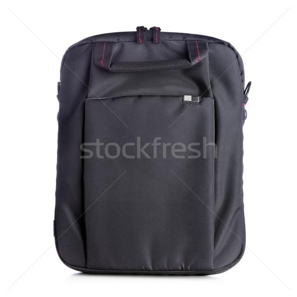 Netbook'lar çanta siyah yalıtılmış beyaz bilgisayar Stok fotoğraf © kokimk