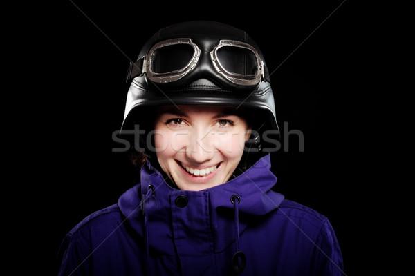 Kız kask gözlük stil siyah gülümseme Stok fotoğraf © kokimk