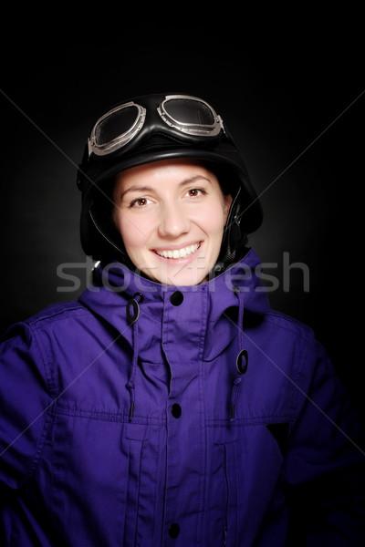 девушки шлема темные очки стиль черный улыбка Сток-фото © kokimk