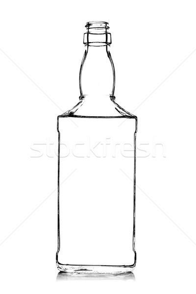 álcool garrafa contorno branco projeto preto Foto stock © kokimk