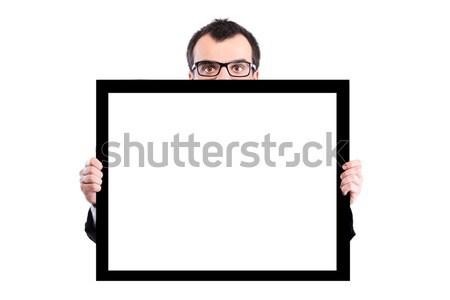 Işadamı panel gözlük beyaz boş Stok fotoğraf © kokimk