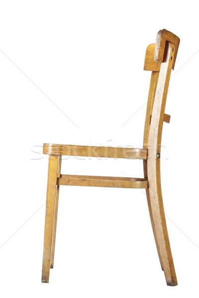 Ahşap sandalye boş eski moda yalıtılmış beyaz ahşap Stok fotoğraf © kokimk