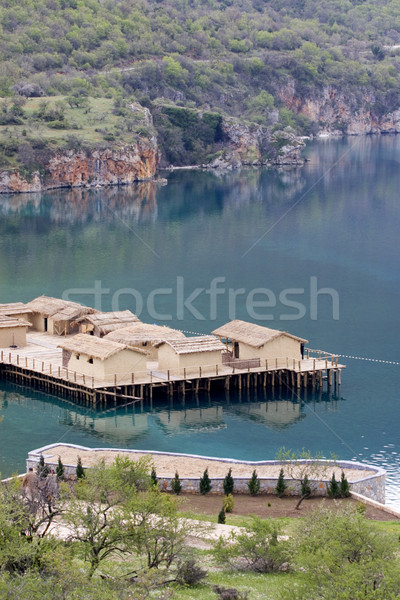 Prehistoric settlement at the Ohrid Lake Stock photo © kokimk
