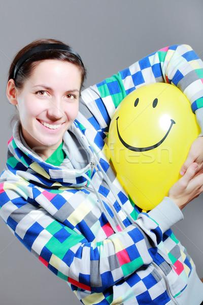 Kız balon sarı gri moda Stok fotoğraf © kokimk