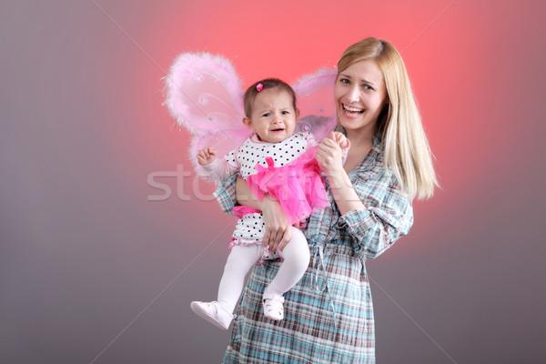 Mãe filha engraçado expressões rosa cara Foto stock © kokimk
