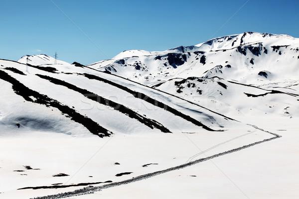 Kış manzara yol köy mavi seyahat Stok fotoğraf © kokimk