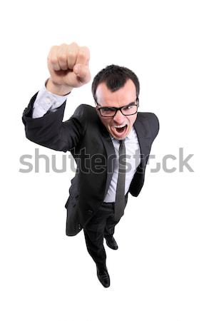 Süper işadamı çığlık atan işaret el yukarı Stok fotoğraf © kokimk