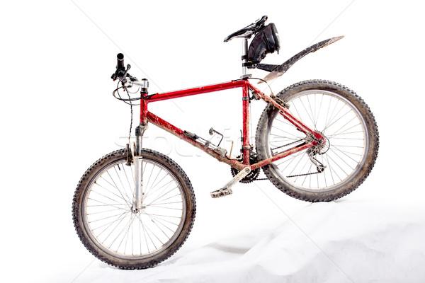 Sáros hegyi kerékpár piros koszos állapot bicikli Stock fotó © kokimk