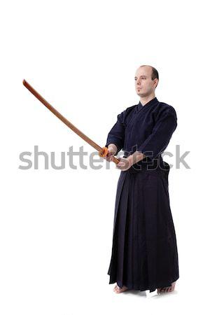 Lutador retrato isolado branco homem silhueta Foto stock © kokimk