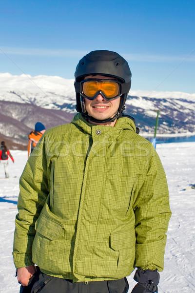 Portre erkek snowboard adam spor Stok fotoğraf © kokimk