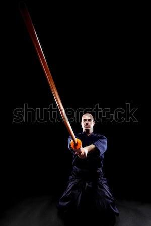 Lutteur portrait homme sport noir silhouette Photo stock © kokimk