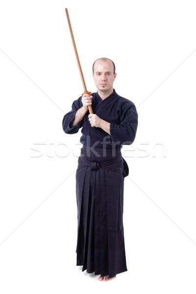 Lutador isolado branco homem silhueta escuro Foto stock © kokimk