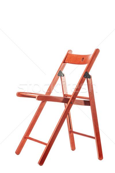Kırmızı ahşap sandalye boş yalıtılmış beyaz ahşap Stok fotoğraf © kokimk